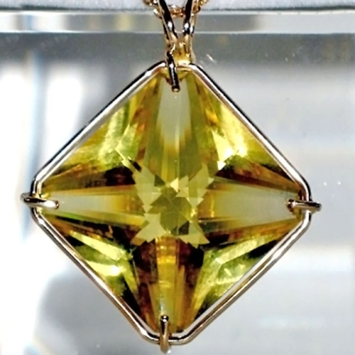 Large 14 kt Gold Citrine Magician Stone Pendant