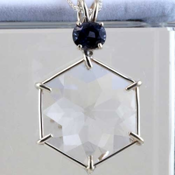 clear quartz blue spinel gemstone flower of life pendant