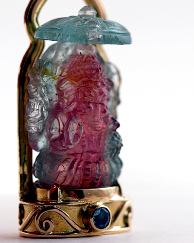 Bi-Color Tourmaline Ganesha in 22 kt Gold w/Tourmaline Accent Stones