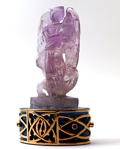 Amethyst Zadkiel Altar on Aquamarine Base with Tourmalines