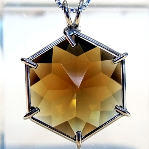 Citrine Flower of Life Tools of Evolution Line Jewelry Pendant