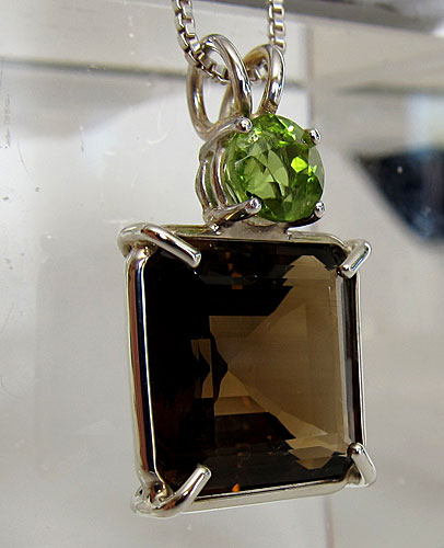 smoky citrine earth heart pendant with peridot crown