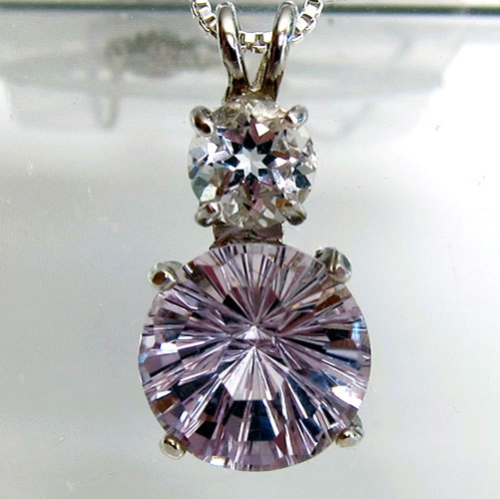 Rose de France Amethyst Super Nova Pendant with White Topaz Accent Stone in Sterling Silver