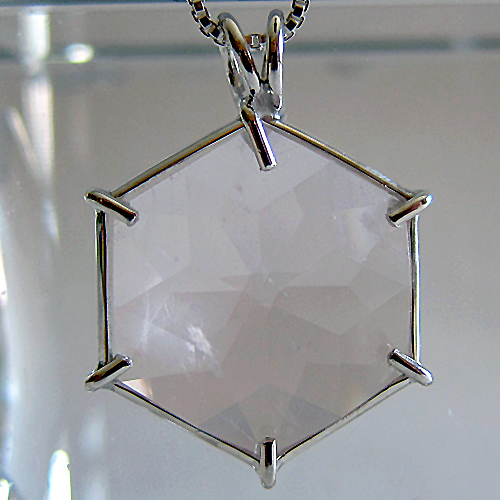 Pale Rose Quartz Flower of Life Pendant