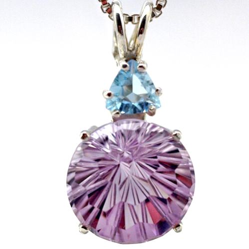 rose de france super nova pendant with aquamarine