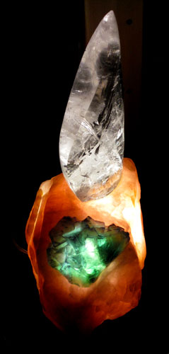 clear flame in rose base w/fluorite lamp