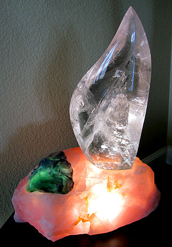 clear quartz flame lamp in rose quartz base with green fluorite