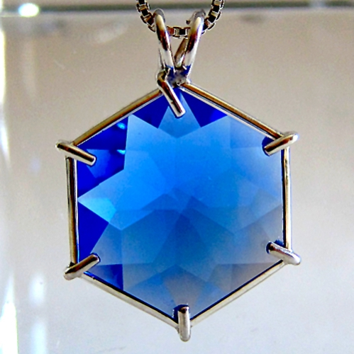 Siberian Blue Quartz Flower of Life Pendant in Sterling Silver