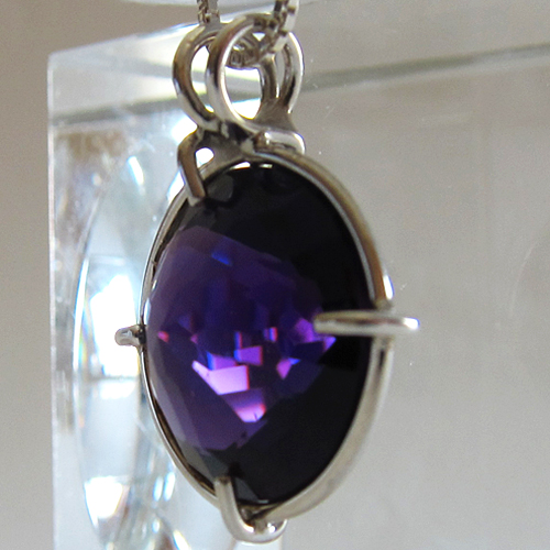Siberian Purple Quartz Radiant Heart Pendant in Sterling Silver