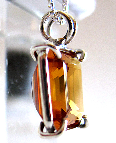 Siberian Golden Quartz Earth Heart Pendant in Sterling Silver