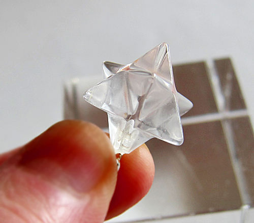Clear Quartz Merkaba Pendant with Sterling Silver Chain