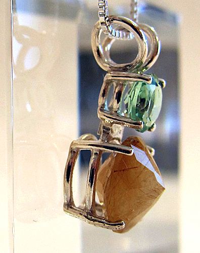 Rutilated Quartz Mini Radiant Heart w/Tibetan Green Obsidian