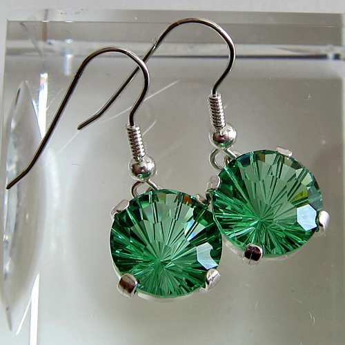 Tibetan Green Obsidian Super Nova Hanging Earrings