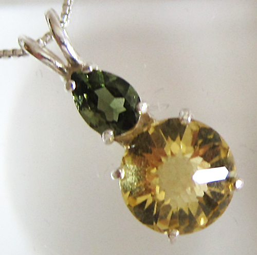 Citrine Mini-Radiant Heart Pendant w/Moldavite Crown