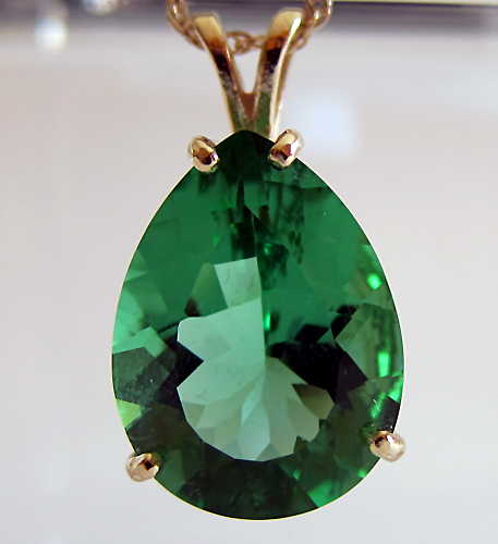 Green Tibetan Obsidian Teardrop Pendant in 14 kt Gold