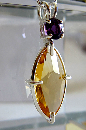 Peach Citrine Infinite Eye Pendant w/Amethyst Crown