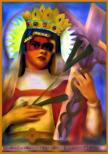 Mixed Madonna, mixed media digital painting by Jane Sherry