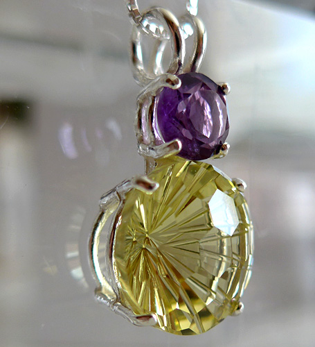 Lemon Citrine Super Nova with Amethyst Crown