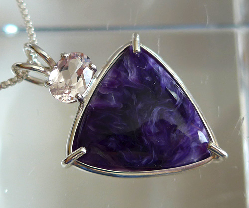 Charoite Pendant with Oval Morganite Gemstone Crown