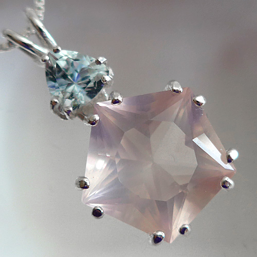 Rose Quartz Star of Venus w/Trillion Aquamarine Pendant