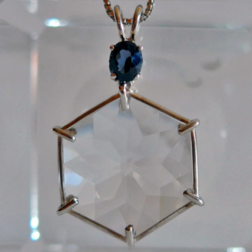 CLear Flower of Life pendant w/Blue Spinel Oval Gemstone