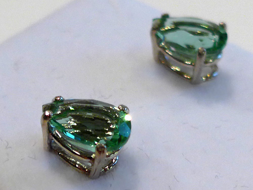 Tibetan Green Obsidian Teardrop Post Earrings