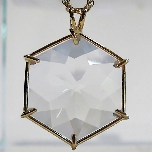 14 kt Gold Water Clear Quartz Flower of Life Pendant