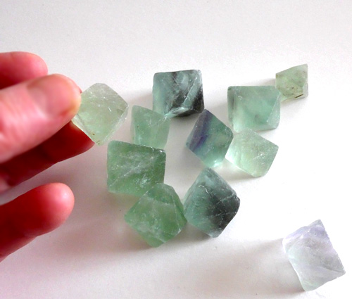 Trio of Green Fluorite Octahedrons