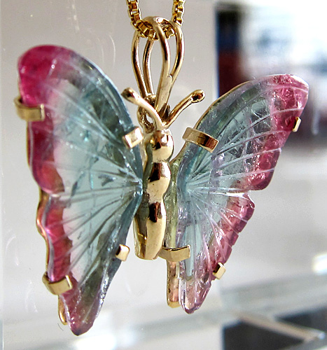Watermelon Tourmaline Butterfly 14 kt Yellow Gold Pendant