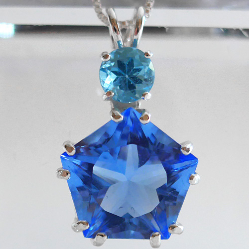 Siberian Blue Star of Venus Pendant w/Blue Topaz