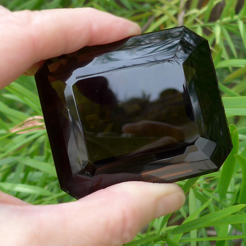 Giant Dark Smoky Emerald Cut Gemstone