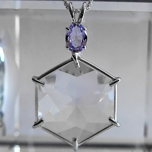 Clear Quartz Flower of Life with Violet Spinel