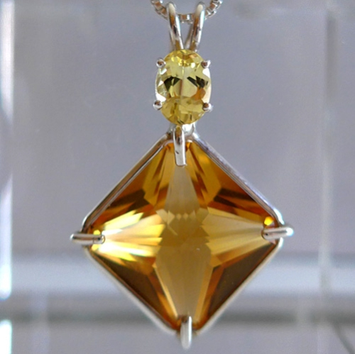 Peach Citrine Magician Pendant with Beryl Accent Stone