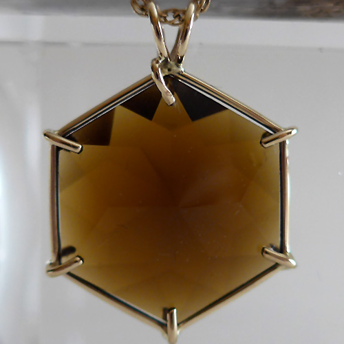 Smoky Citrine Flower of Life in 14 kt Gold