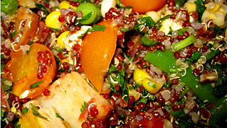 Summer Quinoa Salad with Vegetables served with Tomato, Peach & Corn Relish