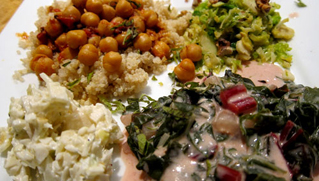 Indian Curried Chick Peas on Quinoa with Holy Basil, Brussels Sprouts in Ghee with Maple Syrup and Toasted Walnuts, Creamed Red Swiss Chard, Jicama, Fennel and Apple Salad