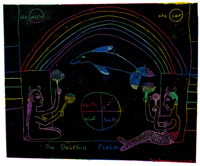 Horned Lovers, Rainbow, Dolphin by Jane Sherry