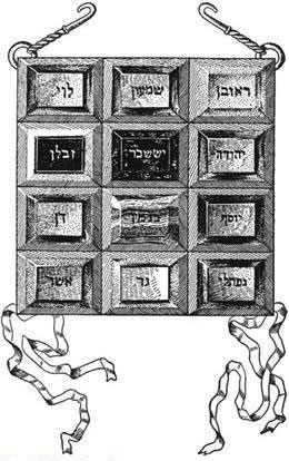 breastplate of High Priest of Israel including Hebrew inscription