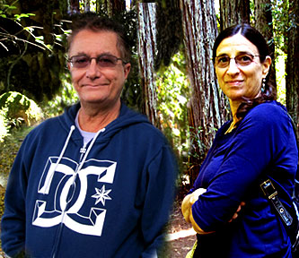 Jane and Curtis digital collage in Redwood Forest near Santa Cruz