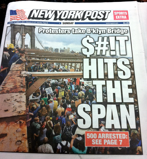 New York Post: Occupy Protestors Take the Brooklyn Bridge