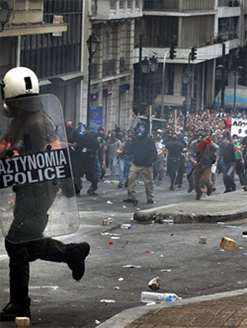 Greek Protests Against Austerity 2012 courtesy of Wikimedia Commons