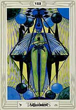 Tarot Trump #8: Adjustment, associated with the sign Libra