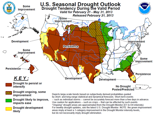 US Seasonal Drought Outlook, Courtesy of US Dept. of Commerce