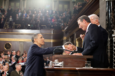 President Obama Shakes Hands with House Speaker Boehner at State of Union Address 2011, courtesy of US Government and Wikimedia