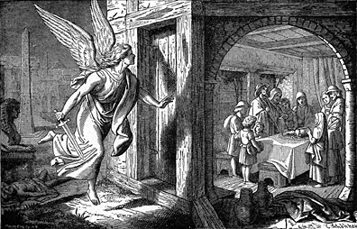 The Angel of Death Spares the Chosen People During Passover, Charles Foster Bible Illustrations