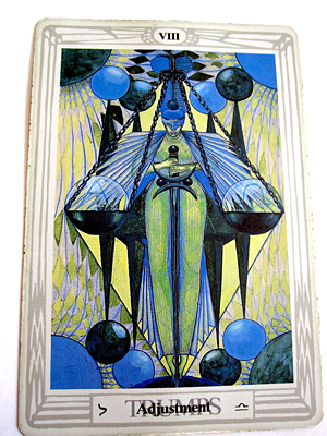Tarot Trump VIII, Adjustment, by Lady Frieda Harris and Aleister Crowley