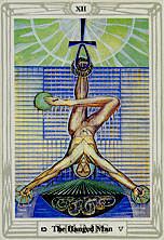 Tarot Trump XII, The Hanged Man, by Lady Frieda Harris and Aleister Crowley