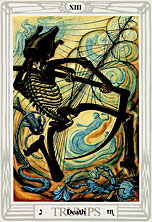 Tarot Trump XIII, Death, by Lady Frieda Harris and Aleister Crowley