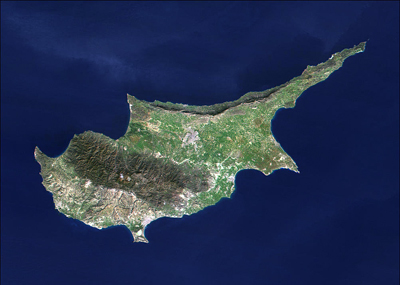 Island of Cyprus, Satellite Photo Courtesy of NASA