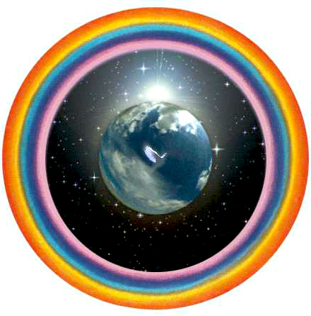 Holy Spirit Dove Surrounding Earth with Rainbow Blessings